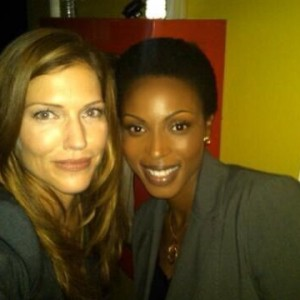On set with Tricia Helfer