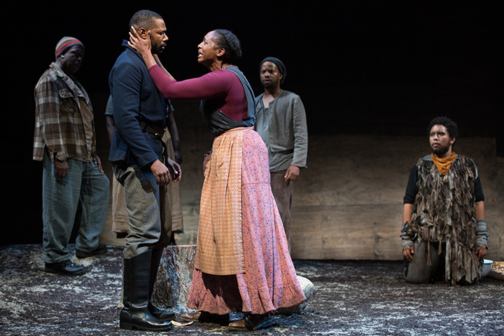Father Comes Home From The Wars at Soulpepper Theatre: Roy Lewis, Dion Johnstone, Lisa Berry, Marcel Stewart, Peter Fernandes. Photo by Cylla von Tiedemann